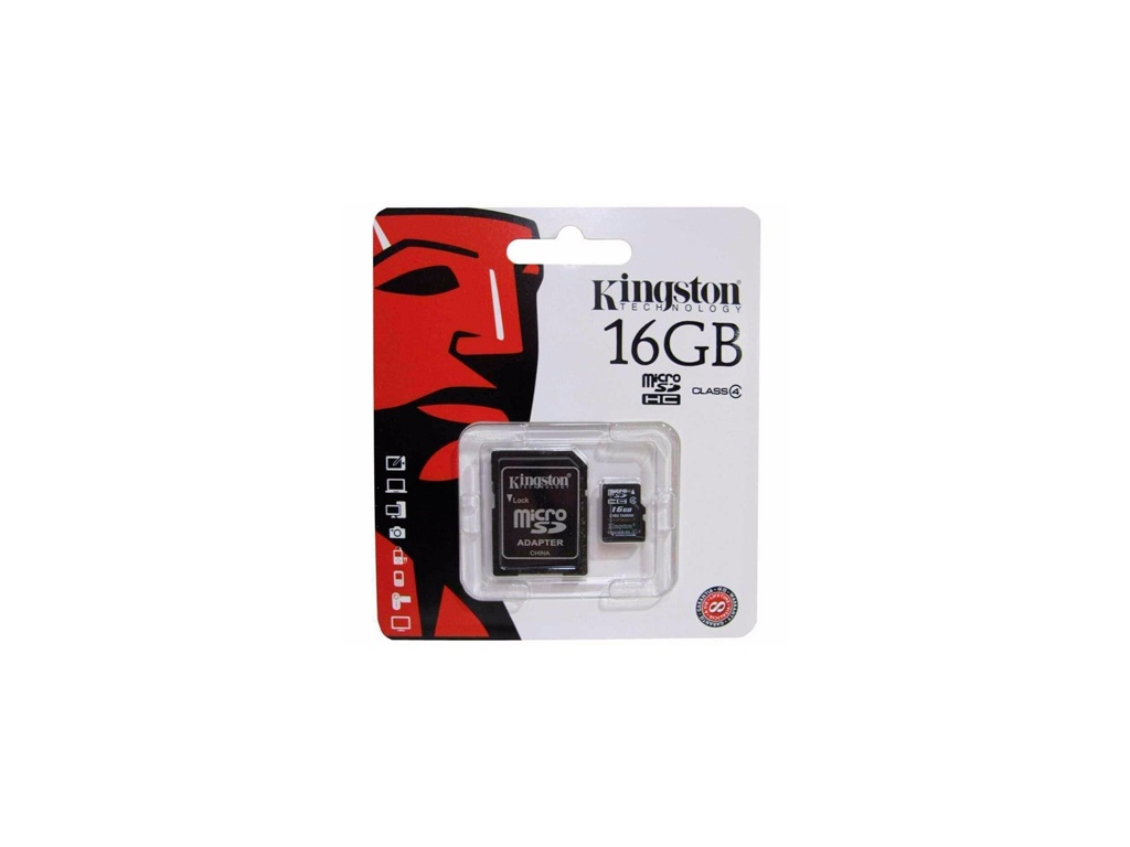 Memoria Kingston SDC4/16GB Flash (Adaptador MicroSDHC a SD Incluido) Class 4