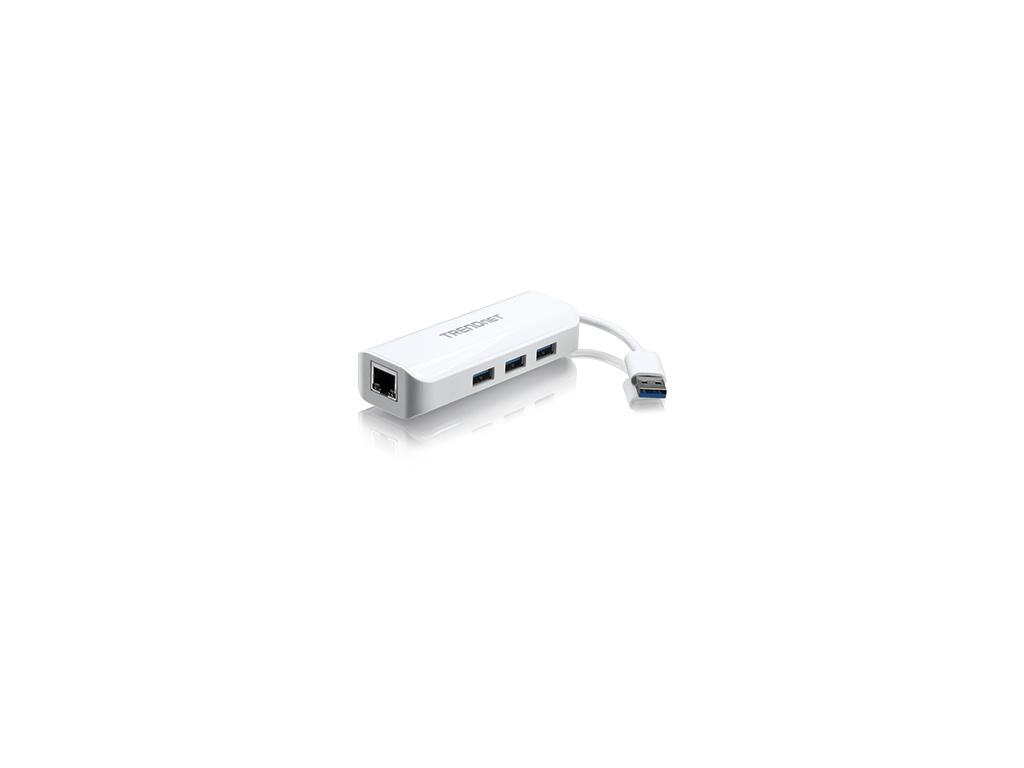 Adaptador USB TrendNet TU3-ETGH3 3.0 a Gigabit y Hub USB