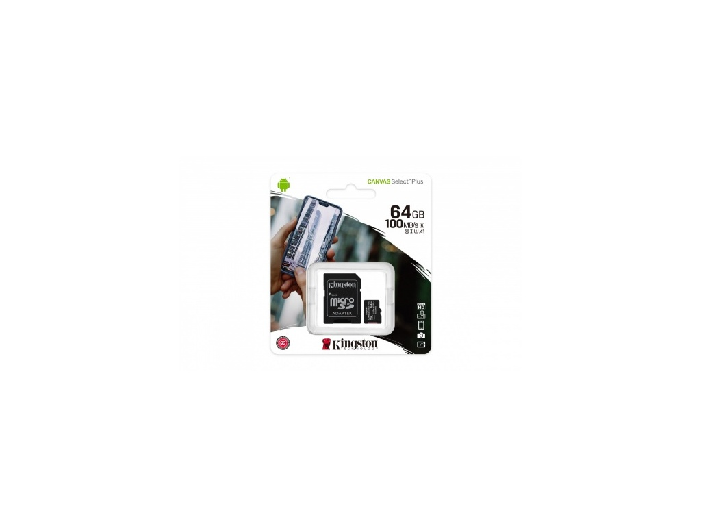 Memoria Kingston SDCS2/64GB microSDHC Canvas Select Plus 100R/85W.